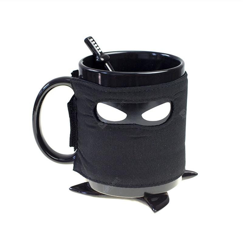 Ninja Mug Removable Cover Star Coaster Samurai Sword Spoon - BLACK