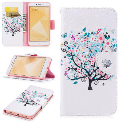 White Tree Pattern for Xiaomi Redmi Note 4 / 4X Luxury Style PU Leather Mobile Phone Case Flip Cover
