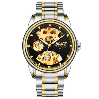 BOSCK Men Hollow-Out Gold-Plated Waterproof Mechanical Watches