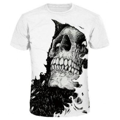 Men 3D Print Skull Short Sleeves Casual T-shirt