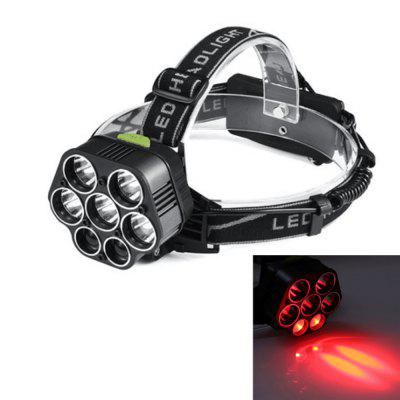 UltraFire UF-507R T6+ Red LTS 7LED 5000LM 6 Speed Rechargeable Strong Head Light