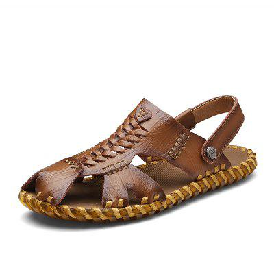 ZEACAVA Two-Layer Leather Comfortable Outsole Handmade Sandals cie round toe mackay blake custom handmade calf genuine leather outsole breathable men s casual oxfords color purple shoe ox519
