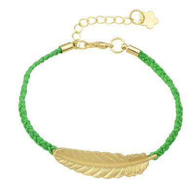 PU Leather Knitted with Gold Leaf Feather Bracelet