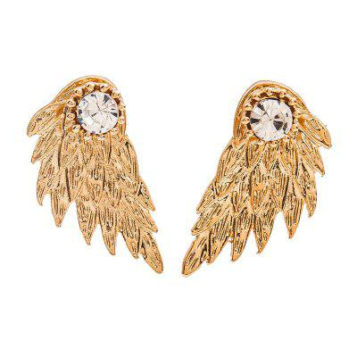 Solid Angel Wing Feather Crystal Earrings
