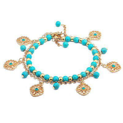 Fashion Turquoise Hollow-Out Flower Pendant with Two Pieces of Bracelet
