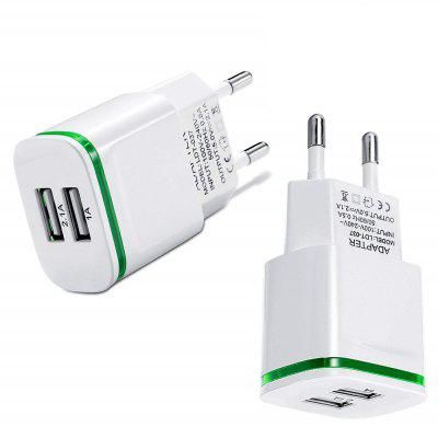 2 PCS LED Light Dual USB Charger 5V 2.1A / 1.0A Compatible with Smartphone EU