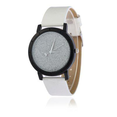 V5 Women Fashionable Frosted PU Crescent Needle Quartz Watch