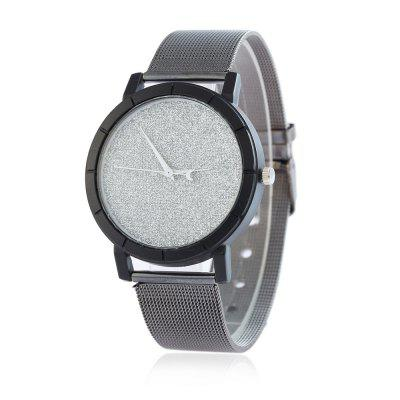 V5 Women Fashion Stainless Steel Mesh Color Crystal Grinding Quartz Watch