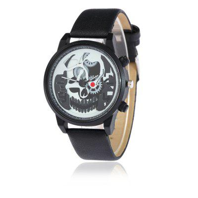 V5 Men Casual Retro Mechanical Ghost Head Quartz Watch