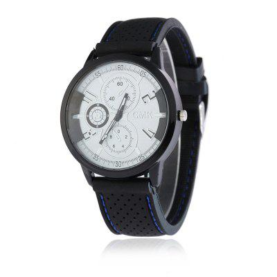 V5 Men Casual Silica Gel Sport Fashion Three-Eye Digital Scale Quartz Watch