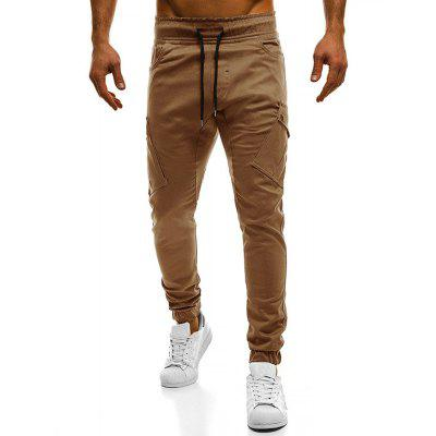 2018 New Large Size Men's Wild Solid Color Oblique Pocket Casual Feet Pants