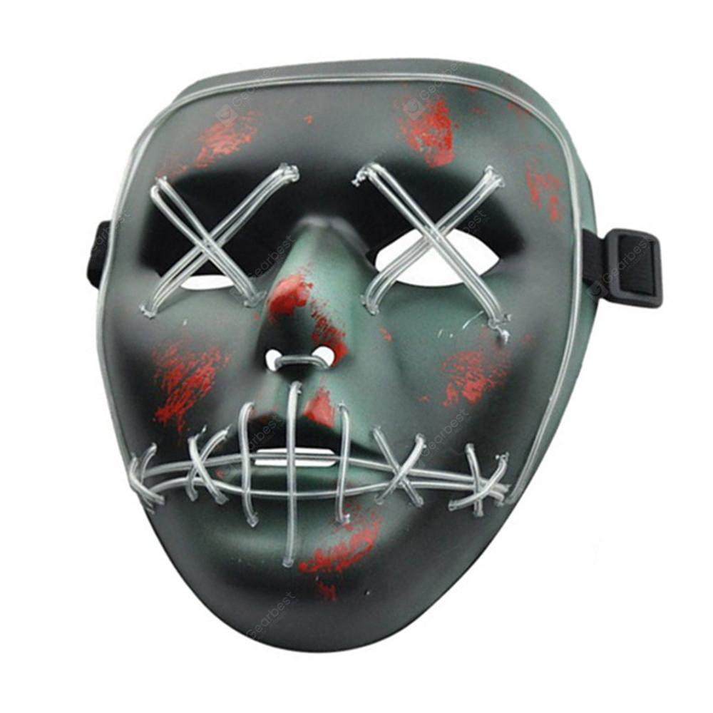 Halloween Mask LED Glow Scary Wire Light Up Grin Festival Parties - MULTI-B