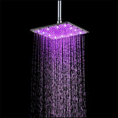 10 inch 25CM Square Stainless Steel RGB LED Bath Shower Faucet antique brushed brass bathroom faucet bath faucet mixer tap wall mounted hand held shower head kit shower faucet sets hf 6656f
