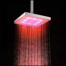 LED 8 inch ABS Overhead Rainfall Shower Head with Temperature Sensor