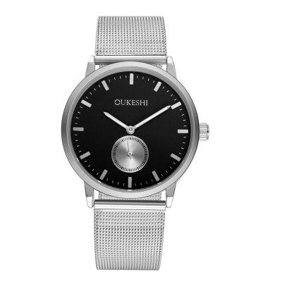OUKESHI Latest Fashion Silver Shell Mesh Belt Men Simple Sports Watch