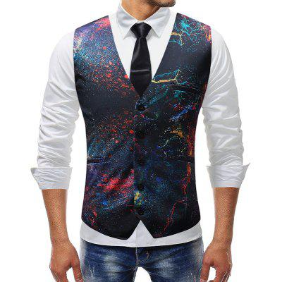 Plus Size Men Casual Fashion Printed Waistcoat Suit Vest