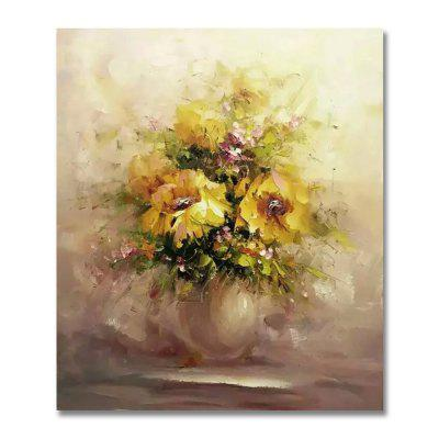 STYLEDECOR Modern Hand Painted Abstract Yellow Chrysanthemum Oil Painting Canvas iarts hand painted abstract conjoined palnt oil painting red 80 x 40cm