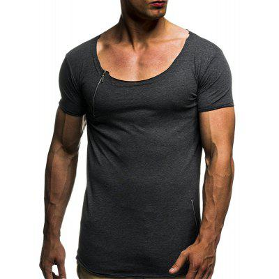 2018 Men's Solid Color Round Neck Zip Fit Slim Summer Short Sleeve T-Shirt носки nike носки nike running dri fit cushion d