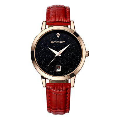 SANDA Woman Waterproof Leather Fashion Romantic Watch