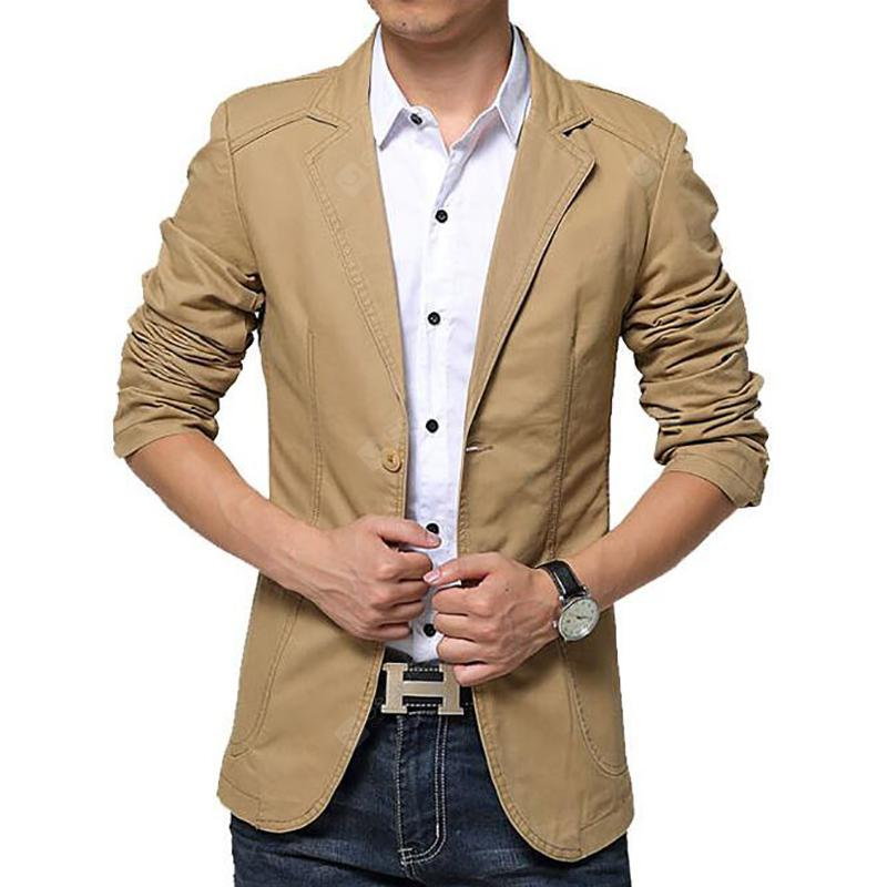 Plus Size Men's Slim Fit Suits Casual Solid Blazer