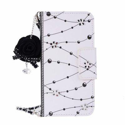 Cooho PZ2D5233 Samsung for S9+ Crystal Flower Dust Plug Chain Leather Phone Case