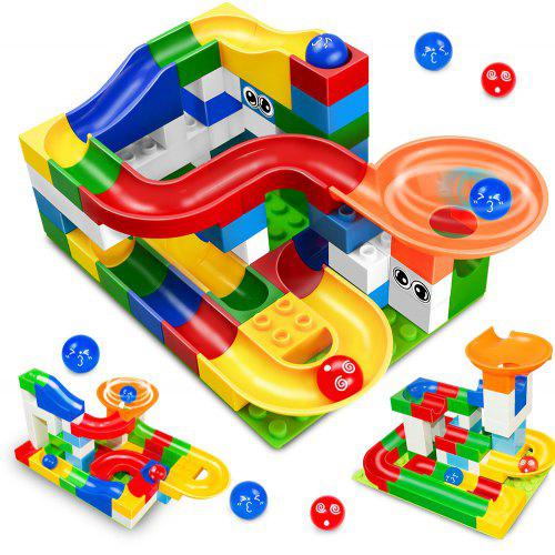 52PCS DIY Marble Race Run Maze Ball ABS Funnel Slide Track Building Blocks Toy