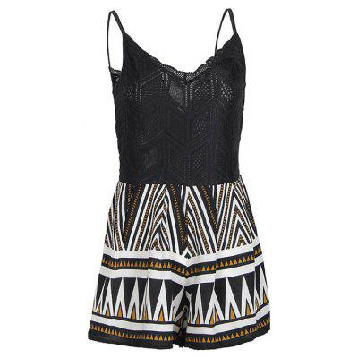 Summer Slim Slimming V-Neck Sexy Lace Casual Print Jumpsuit