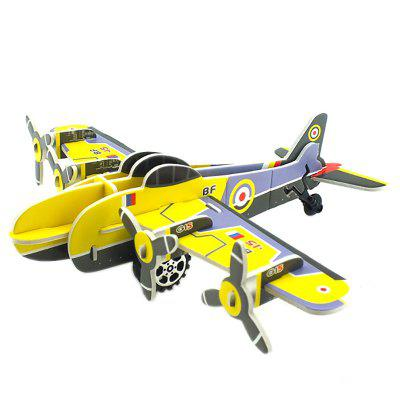 DIY Children Stereo Simulation Yellow Airplane Model Puzzle lottery game children puzzle desktop toys bingo machine simulation machine