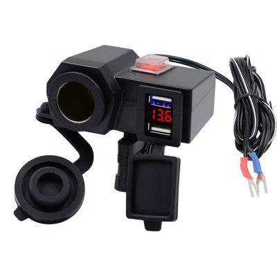 Dual USB Charger Socket Motorcycle Handlebar Clamp Power Adapter