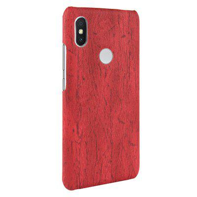 PU Wood Grain Leather and Matte PC Phone Case for Xiaomi Mi 8