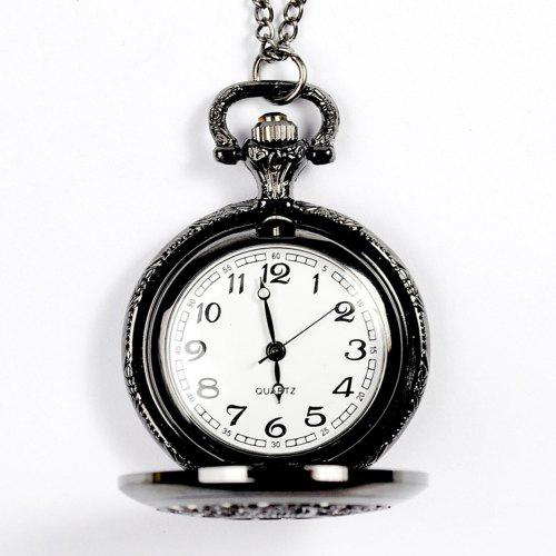 Seasonal 3152432 Carved Hollow Black Pocket Watch