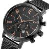 MINI FOCUS Famous Top Brand Sport Stainless Steel Men Quartz Watch - BLACK