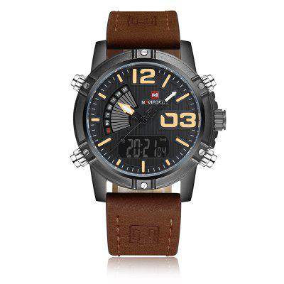 Men Quartz Analog LED Clock Leather Strap Military Waterproof Watch 2017 mens business watches vinoce top brand luxury waterproof watch roman numerals man steel sport quartz watch men clock male
