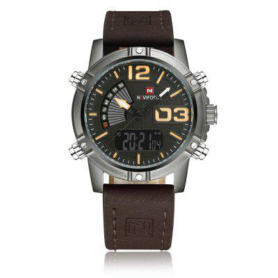 Men Quartz Analog LED Clock Leather Strap Military Waterproof Watch naviforce top brand sport watches men casual quartz watch luxury waterproof fashion wristwatch relogio masculino military clock