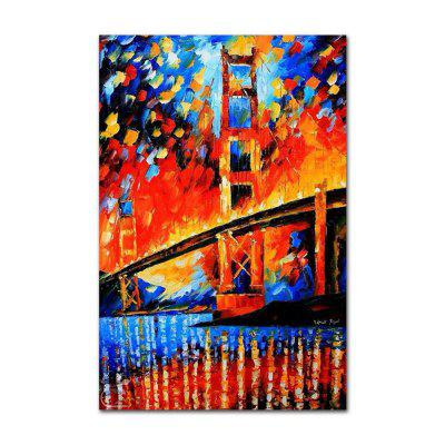 STYLEDECOR Modern Hand Painted Knife Painting Color Bridge Oil Painting Canvas