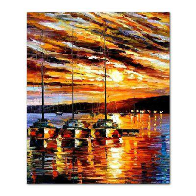 STYLEDECOR Modern Hand Painted Abstract Knife Painting Sailing on Canvas