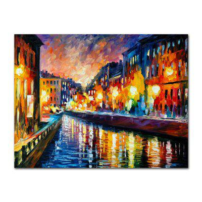 STYLEDECOR Modern Hand Painted Knife Painting River Scenery Oil Painting Canvas