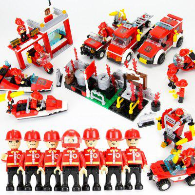 8 in 1 Building Block Fire Station DIY Educational Creative Kid Toy gudi fire truck blocks children educational assembled model airplane building kits blocks toy boy kid best gift brinquedos