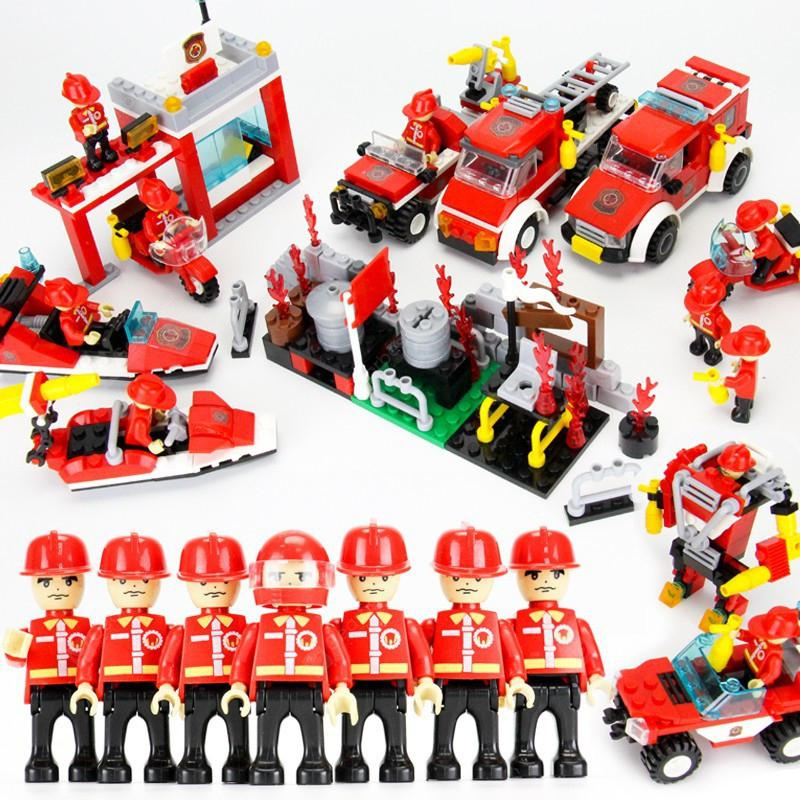 8 in 1 Building Block Fire Station DIY Educational Creative Kid Toy