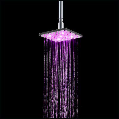 Stainless Steel 6 inch Square LED Rain Shower with Temperature Sensor Type ydl bd005 1 16 temperature control 24 led rgb light 304 stainless steel square shower head silver