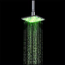 Stainless Steel 6 inch Square LED Rain Shower with Temperature Sensor Type