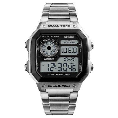 SKMEI Men LED Digital Alarm Sport Watches Stainless Steel Military Wrist Watch