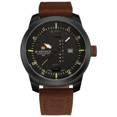 Men Quartz Black Case Calendar Display Dial Leather Band Wrist Watches naviforce men watches top brand luxury casual quartz watch dive leather sport wristwatch relojes hombre relogio masculino clock