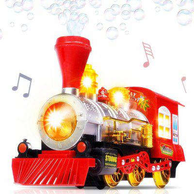 Creative Bubble Blowing Battery Powered Locomotive Music Train Toy with Light