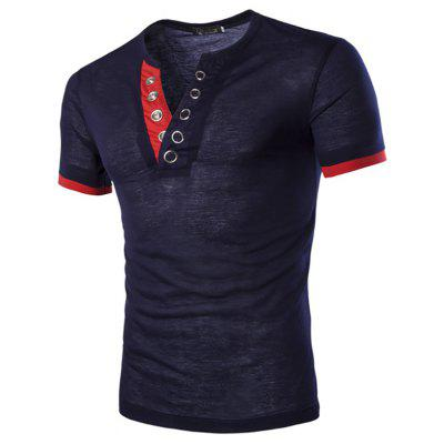 Mens Buttonhole Design Short Sleeve Slim Fit Casual T-shirts