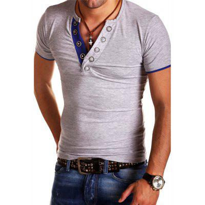 Mens Buttonhole Design Short Sleeve Slim Fit Casual T-shirts slim fit basic blazer