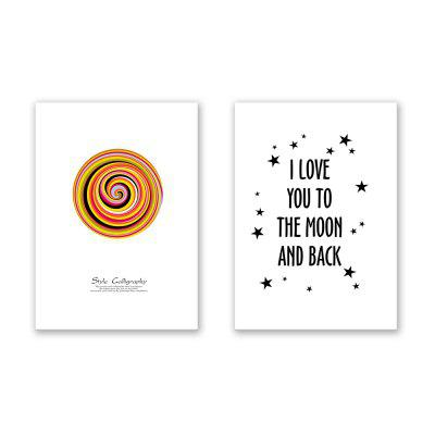 2 PCS W402 letter Circular Unframed Canvas Print for Home Decoration