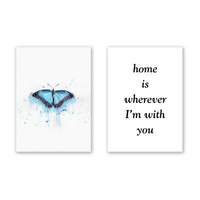 2PCS W404 Butterfly Letter Unframed Canvas Print for Home Decoration