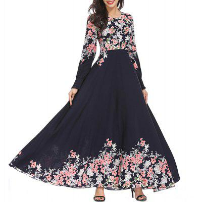 Printing Slim Big Pendulum Long Dress