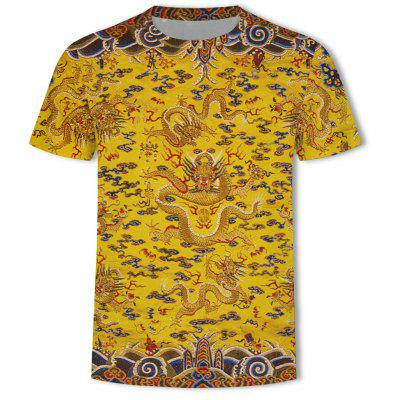 New Chinese Dragon Printing Men's Plus Size Short-Sleeved T-Shirt